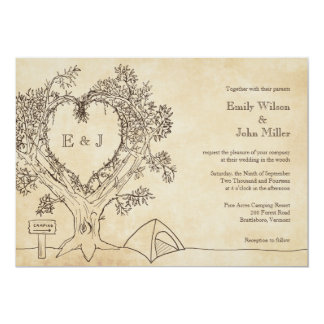 "Heart in a Tree Camping Wedding Invitations 5"" X 7"" Invitation Card"