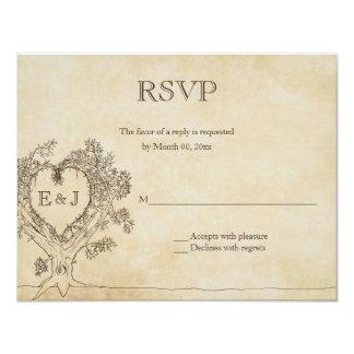 Heart in a Tree Wedding RSVP Response Cards 11 Cm X 14 Cm Invitation Card