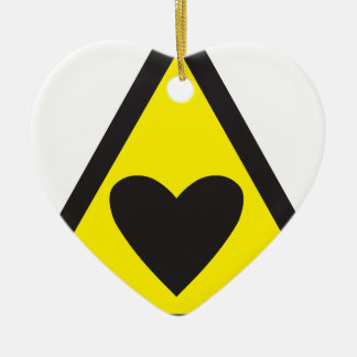Heart in a triangle sign warning ceramic heart decoration