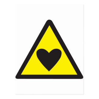 Heart in a triangle sign warning postcard