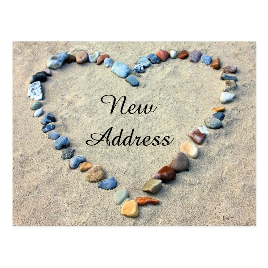 Heart in Beach Sand New Address Postcard