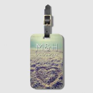 Heart in beach sand travel luggage tags for couple