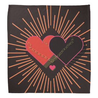 Heart in Chains, on a Black Background Bandana