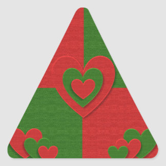 Heart in Christmas Colors Red Green Felting Look Triangle Sticker