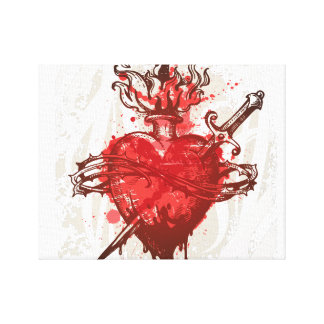 heart in flames wounded by dagger canvas print