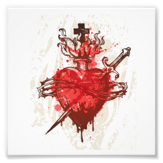 heart in flames wounded by dagger photo art