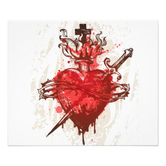 heart in flames wounded by dagger photo print
