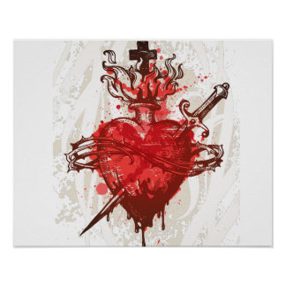 heart in flames wounded by dagger poster