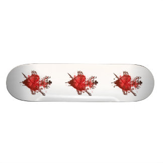 heart in flames wounded by dagger custom skate board