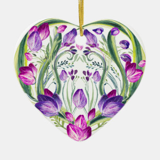 Heart in flowers christmas ornament