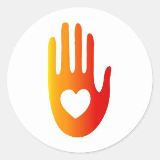 Heart in Hand Round Sticker