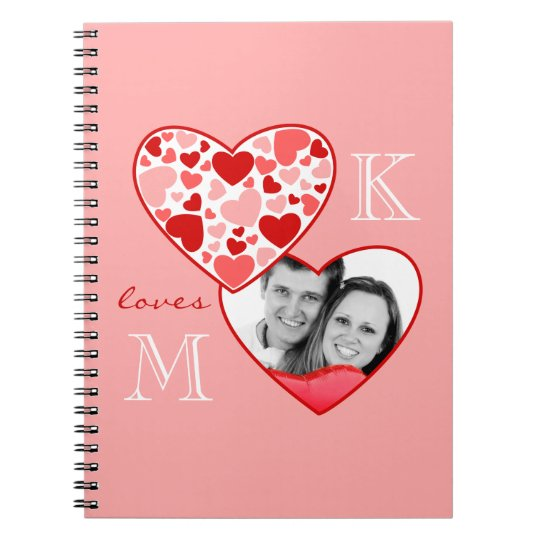 Heart in Heart Customisable Photo Frame Red Pink Notebooks
