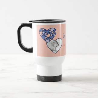 Heart in Heart Customizable Photo Frame Blue Peach Stainless Steel Travel Mug