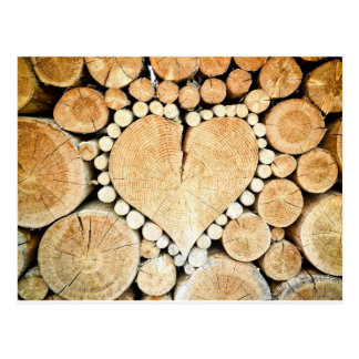 Heart in logs postcard