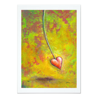 Heart in Motion - fun contemporary painting art 13 Cm X 18 Cm Invitation Card