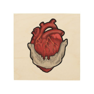 Heart in mouth wood print