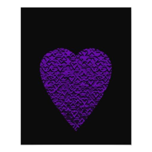Heart in Purple Colors. Patterned Heart Design. Flyer