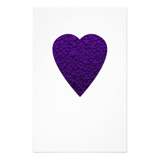 Heart in Purple Colors. Patterned Heart Design. Flyers