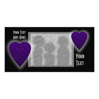 Heart in Purple Colors. Patterned Heart Design. Customized Photo Card