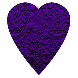 Heart in Purple Colors. Patterned Heart Design. Standing Photo Sculpture