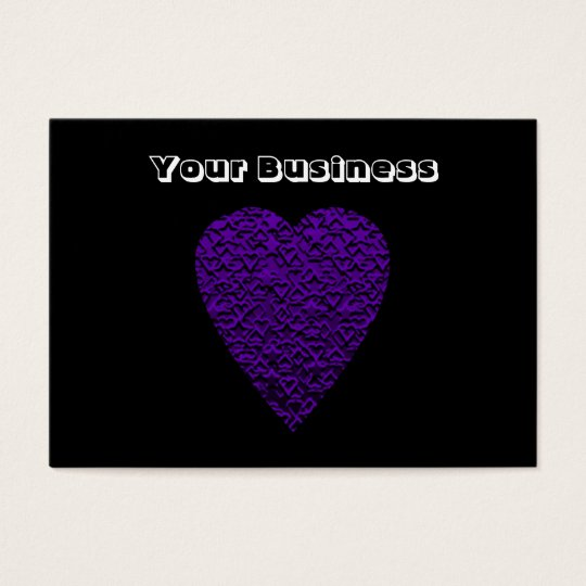 Heart in Purple Colours. Patterned Heart Design. Business Card