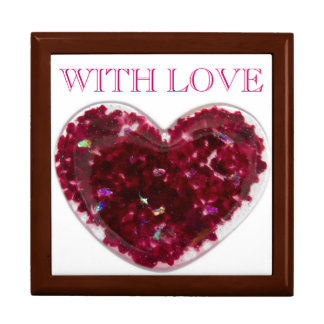 Heart in red and pink fused glass - photograph large square gift box