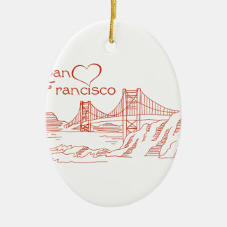 Heart In San Francisco Ceramic Oval Decoration