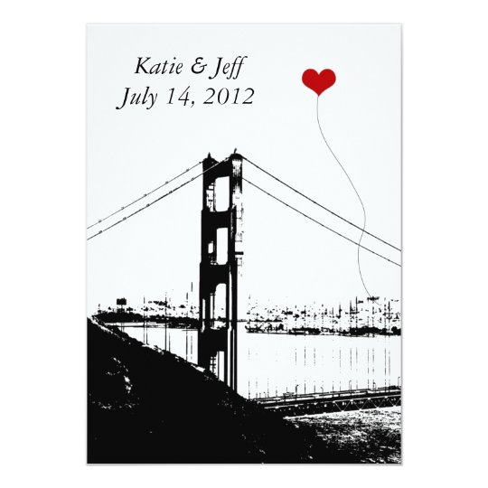 Heart in San Francisco Golden Gate Bridge Card