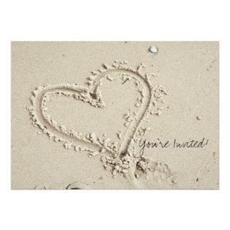Heart in Sand Beach Invitation