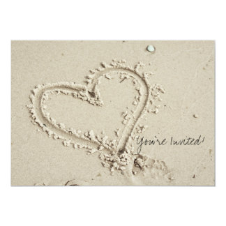 Heart in Sand Beach Invitation