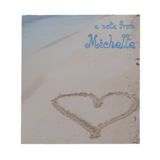 Heart in Sand Beach Personalized Notepad
