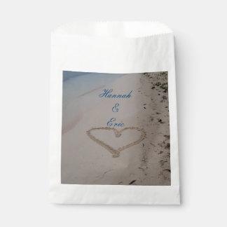 Heart in Sand Beach Wedding Favour Bags