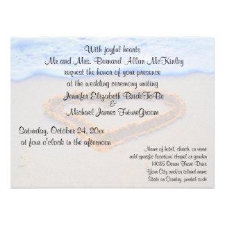 Heart in  Sand Beach Wedding Custom Invitations