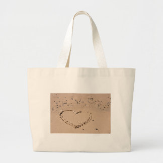 heart in sand large tote bag