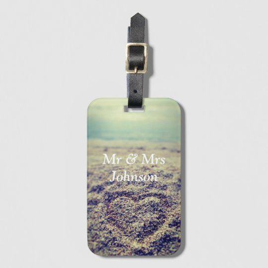 Heart in sand mr and mrs luggage tag