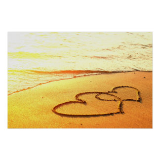 Heart in sand on a sandy beach romantic photo poster