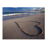 heart in sand post cards