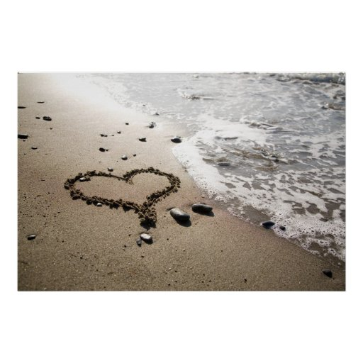 Heart in sand poster/canvas