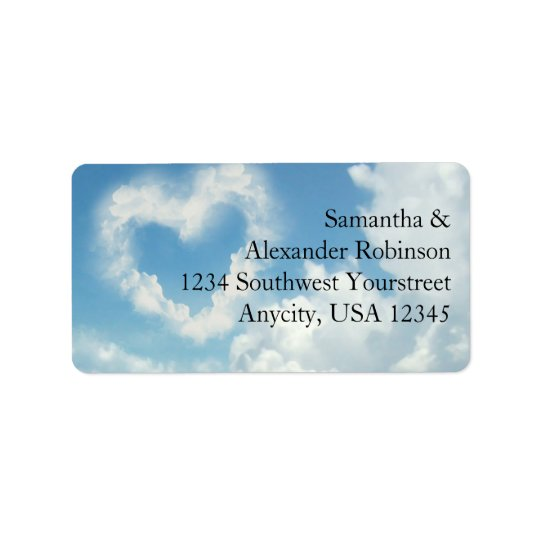Heart in the Clouds, Blue Sky Romantic Love Address Label