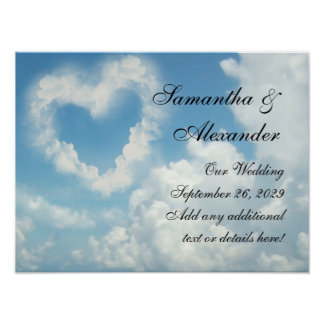 Heart in the Clouds, Blue Sky Romantic Love Poster