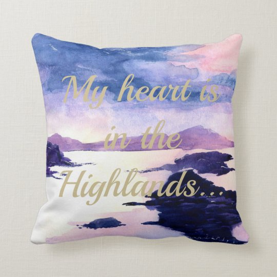 Heart in the Highlands Watercolour Cushion