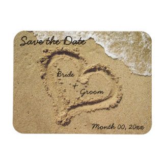 Heart in the Sand Save the Date Magnets