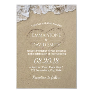 Heart in the Sand Summer Beach Wedding 13 Cm X 18 Cm Invitation Card