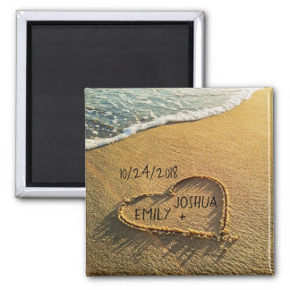 Heart in the Sand Tropical Beach Magnet