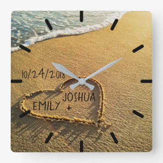 Heart in the Sand Tropical Beach Square Wall Clock