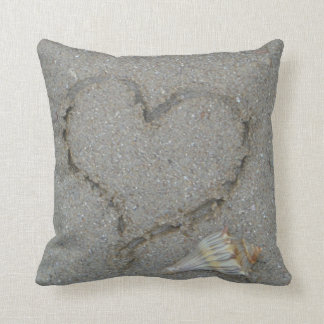 heart in the sand with shell cushion