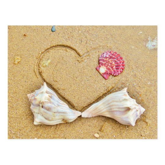 heart in the sand with shells postcard