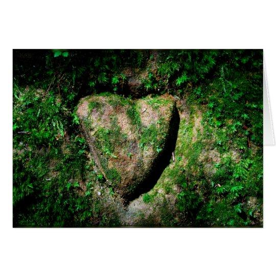 Heart ingraved in a rock card