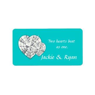 Heart Jewelry Wedding Label Blue Address Label