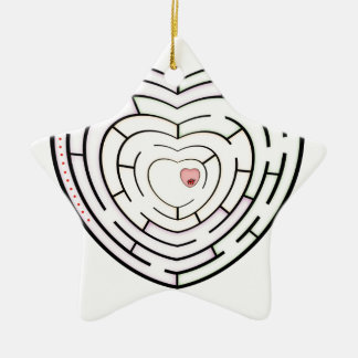 HEART LABYRINTH CERAMIC STAR DECORATION
